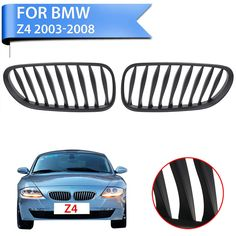 2PC Matte Black Front Kidney Grille Grill Lattice For BMW E85 E86 Z4 2003 - 2008 Convertible Coupe Car Styling Accessory #P360