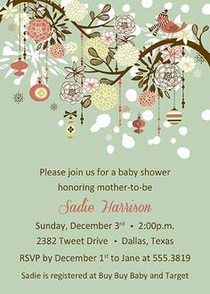"""PRINTABLE """"Baby, it's cold outside!"""" Flowers Snowflakes Birds Baby Shower Invitation"""
