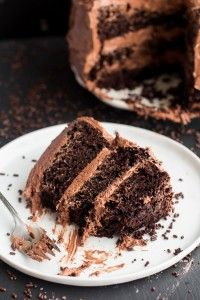Simple Chocolate Birthday Cake with Whipped Chocolate Buttercream Frosting-11