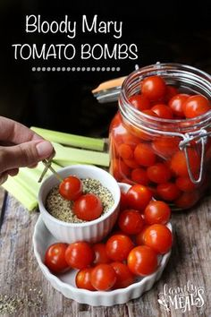 Boozy Bloody Mary Tomato Bombs-- a delicious appetizer for a boozy brunch! Brunch, Appetizers For Party, Appetizer Recipes, Picnic Recipes, Picnic Ideas, Picnic Foods, Party Recipes, Summer Recipes, Free Recipes