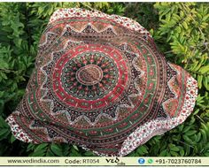 Hippie Trippy Multicolor Indian Mandala Tapestry Round Roundie Beach Table Cover, Yoga Mat Rug, Blanket Boho Bohemian Bedspread Dorm Decor