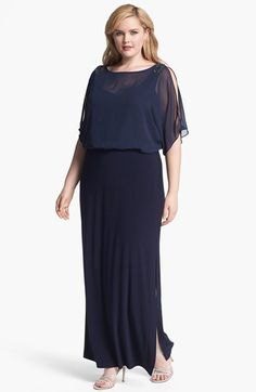 Xscape Embellished Blouson Bodice Jersey Dress (Plus Size) available at #Nordstrom