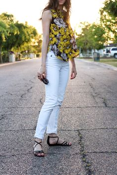 Yellow floral print tank   Who What Wear Collection @ Target   White jeans spring look