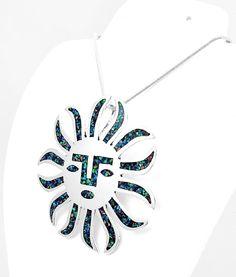 Mesoamerican Opal Silver Aztec Sun Mask Pendant Jewelry Taxco Mexico #Handmade