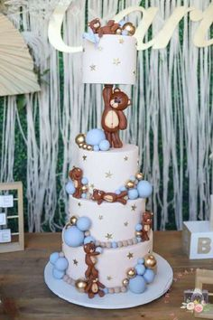 Take a look at this adorable teddy bear boho baby shower! The cake is wonderful!! See more party ideas and share yours at CatchMyParty.com