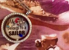 My Heart Belongs to a Sailor Locket.  Laminated backgrounds now available at www.charmingincentives.com  #floatinglocket #navywife Navy Wife, Living Lockets, Floating Lockets, My Heart, Sailor, Backgrounds, Bracelets, Jewelry, Jewels