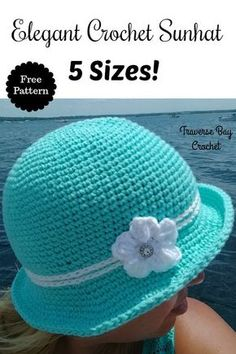 Crochet Patterns For Beginners Crochet Elegant Sunhat 5 sizes Crochet Summer Hats, Crochet Cap, Crochet Baby Hats, Crochet Beanie, Crochet Gifts, Easy Crochet, Crochet Clothes, Crocheted Hats, Booties Crochet