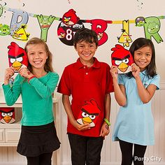 Everyone can be their fave Angry Bird with masks and favors! Click for more inspiration from our Angry Birds party ideas guide.