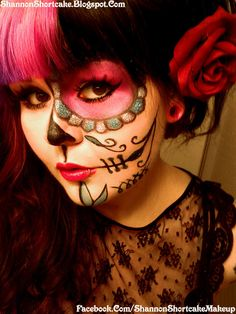 (Day Of The Dead / Sugar Skull/Pin Up Girl Halloween Make Up Look!) (My Girly version of the Sugar Skull Make Up! I kept half my f. Candy Skull Makeup, Half Skull Makeup, Half Face Makeup, Glitter Makeup, Pin Up Girl Halloween, Halloween Makeup Looks, Halloween Ideas, Halloween Costumes, Halloween Ball