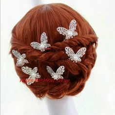 Wedding Butterfly Hair Pins Hairpins to adorn your hair on special occasions. This is a 3-piece set.   Butterflies are approximately 3/4-inch across. Kerah Accessories
