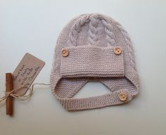 100% cashmere hand knit baby hat pilot size 3 by Cannellashop