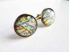 Personalized cufflinks, best man, groom, wedding cufflinks, bronze, vintage map