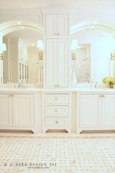 what a gorgeous white bathroom. his & hers vanities, countertop storage, basketweave pattern tile floors, marble. Perfect for Spa Night, too! Bad Inspiration, Bathroom Inspiration, Bathroom Ideas, Bath Ideas, Dream Bathrooms, Beautiful Bathrooms, Master Bathrooms, White Bathrooms, Luxury Bathrooms