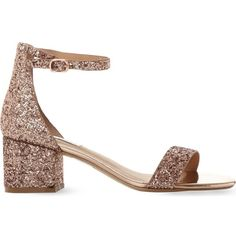 Steve Madden Irenee rose gold glitter block heel sandals ($75) ❤ liked on Polyvore featuring shoes, sandals, rose gold shoes, glitter sandals, glitter shoes, block heel shoes and steve madden sandals