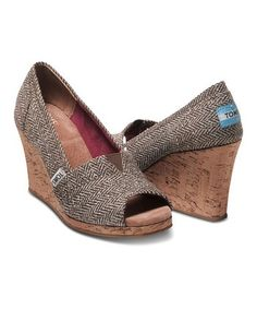toms shoes Tom's Brown Metallic Herringbone Wedge - Size 8 share the best shoes