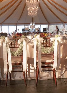 Baby's Breath and ribbon chair