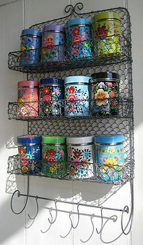 Kashmiri Spice Tins with Rack Set - The Forest & Co. Kashmiri Spice Tins with Rack Set - The Forest & Co. Vintage Tins, Vintage Kitchen, Vintage Market, Kitsch, Deco Boheme Chic, Pioneer Woman Kitchen, Spice Tins, Spice Racks, Sweet Home