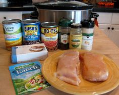 Here's a super easy crock pot dish.       It starts with  two frozen chicken breasts.    Put all the ingredients in a crock pot.    Drain ...