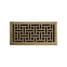 "Wicker Style Brass Floor Register - Antique Brass 6"" x 10"" (6-3/4"" x 11-3/4"" Overall)"