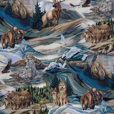 North American Wildlife Buffalo Elk Wolves Scenic