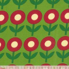 Jersey Knit - Flowers On Green  Plush addict