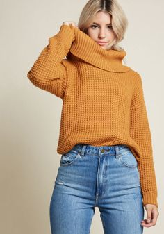 Oh My Cozy Cowl Neck Sweater - Holy smokes is this knit sweater a snugglefest! A star of our ModCloth namesake label, this long sleeve sweater rocks a wide cowl neckline and a bold goldenrod hue, heralding your lavish comfort levels loud and clear. Beste Jeans, Best Jeans For Women, Stylish Outfits, Fashion Outfits, Cozy Fall Outfits, Workwear Fashion, Fashion Blogs, Friends Fashion, Fashion Fashion