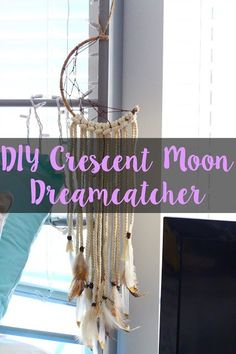 Check out this DIY Crescent Moon Dreamcatcher I made! I had so much fun doing it, and it wasn't too difficult at all! If you want an easy DIY to do for this spring, make sure to read this post! Easy Diy Crafts, Crafts To Sell, Fun Crafts, Crafts For Kids, Crafts Cheap, Summer Crafts, Preschool Crafts, Wood Crafts, Paper Crafts