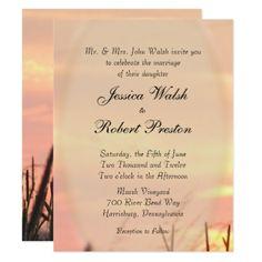 #Sunset Field Wedding Invitation - #country #wedding #celebration #beautiful