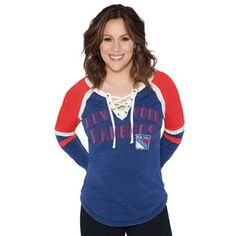 New York Rangers Touch by Alyssa Milano Women's Backshot Lace-Up Long Sleeve T-Shirt - Royal
