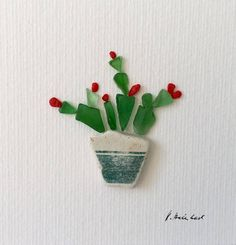 Cactus - sea glass and sea pottery art