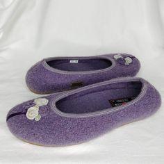 f0499bda52c Haflinger Wool Ballerina Slippers Purple US 10 EU 41 Velvet Ribbon Rosettes   fashion  clothing