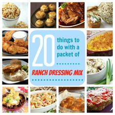 20 clever, tasty recipes you can make with a packet of dry Ranch Dressing mix Ranch Dressing Recipe, Ranch Recipe, Ranch Dressing Mix, Easy Cooking, Cooking Recipes, Great Recipes, Favorite Recipes, Good Food, Yummy Food