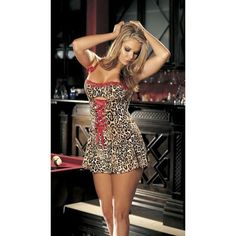 Sexy Leopard Kitty Cat 50s Pinup Bustier Corset Dress Chemise costume M L New #ShirleyOfHollywood #LaceUp