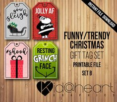 Funny / Trendy / Christmas Gift Tag Set / Printable File / Jolly AF / Resting Grinch Face / You Sleigh / Slay / Santa / Humorous / Wrapping / Shook / Glitter / Funny Printables / Unique Christmas wrapping /