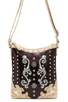 Western Cowgirl All Over Rhinestone And Studded Design Messenger Bag #GetEverythingElse #MessengerCrossBody