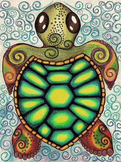 Baby Sea Turtle Art Print by Alohalani I want to draw this myself! Sea Turtle Art, Turtle Love, Sea Turtle Drawings, Sea Turtle Painting, Cute Turtles, Sea Turtles, Baby Turtles, Tortoise Turtle, Cute Drawings