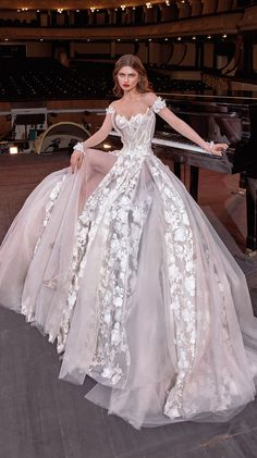 galia lahav couture bridal off the shoulder sweetheart neckline full embellishment bustier princess ball gown a line wedding dress mid back chapel train (gaga) mv -- Steal the Show with Galia Lahav Spring 2020 Wedding Dresses Princess Ball Gowns, Princess Wedding Dresses, Dream Wedding Dresses, Bridal Dresses, Wedding Gowns, Fashion Design Inspiration, Gown Photos, Wedding Dress Trends, Bridal Collection