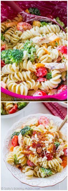 Creamy Chicken Pasta Salad made with Greek yogurt! Makes great leftovers.