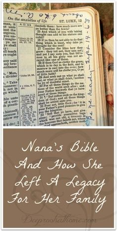 Nana's Bible And How She Left A Legacy For Her Family