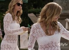 Emily's white bikini and cover up dress on Revenge.  Outfit Details: https://wornontv.net/10274/ #Revenge