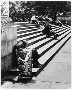 NYC. Steps of the N.Y. Public Library, 1937 // by Andre Kertesz