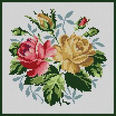 ❀ A beautiful petit point rose needlework. Cross Stitch Pillow, Cross Stitch Cards, Cross Stitch Rose, Cross Stitch Flowers, Cross Stitching, Cross Stitch Embroidery, Hand Embroidery, Cross Stitch Designs, Cross Stitch Patterns