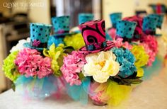 Madhatter theme, Alice in Wonderland, tea party, bridal shower, wedding, birthday, centerpiece