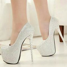789b968951 Pretty in white High Heels Stilettos, White Heels, Prom Heels, Sexy High  Heels