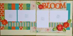 4 photo double page scrapbook layout - Dotty for You paper special, BLOOM!