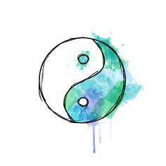 yin yang watercolor