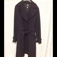 Barneys CoOp wool gabardine trench 0 black A staple, the wool gabardine trench, size 0, worn twice, like new black great quality Barneys New York CO-OP Jackets & Coats Trench Coats