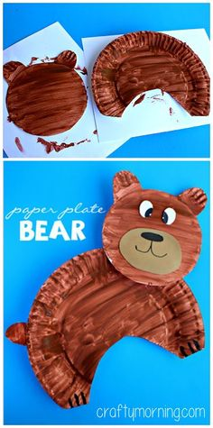 Make this fun paper plate bear craft with your kids! All you need is plates, paint, markers, and tape! It& the perfect bear art project for kids. Preschool Projects, Daycare Crafts, Preschool Crafts, Projects For Kids, Kids Crafts, Activities For Kids, Paper Plate Crafts For Kids, Thanksgiving Activities, Thanksgiving Crafts
