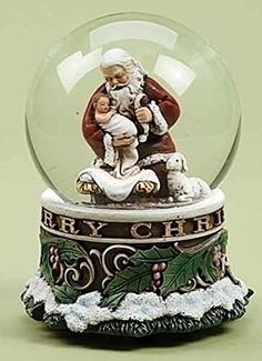 55 Josephs Studio Musical Kneeling Santa with Baby Jesus Christmas Snow Globe Glitterdome *** Want to know more, click on the image. (This is an affiliate link)