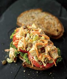 Chicken Salad Sandwich with Curry and Raisins   Rodale's Organic Life  - I'll try without the Raisins but looks good!